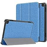 ATiC New Fire HD 8 2020 ケース Fire HD 8 / Fire HD 8 Plus カバー 2020発売 第10世代 オートスリープ機能 軽量 薄型 三つ折りスタンド PUレザー 裏地マイクロファイバー 耐衝撃 傷防止 シンプル スマートケース Blue