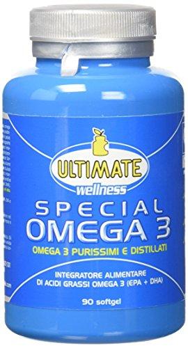Special Omega 3 | Integratore Alimentare A Base Di Acidi Grassi Omega-3 Da Olio Di Pesce | Purissimi Omega 3 Ad Alta Concentrazione In Epa E Dha | Con Vitamina E | 90 Softgel | Ultimate Italia