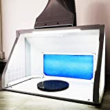 T TOGUSH Professional Airbrush Spray Booth with 3 LED Light Turn Table Large Capacity Portable Paint Spray Booth for Cake Hobby Model Airplane Crafts Painting