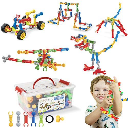 Afomida STEM Toys Kids Building Kit, 125 Pcs Educational Learning Set Construction Engineering Building Blocks for Ages 3 4 5 6 7 8 9 10 Year Old Boys Girls, Best Gift for Children Fun Creative Play