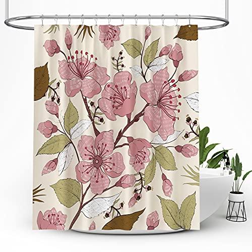 BTTN Blumen Duschvorhang, Wasserdicht Gewichteter Saum Langlebig Waschbar Schnell Trocknend Polyestergewebe Badezimmerzubehör, Blätter Muster Duschvorhang mit 12 Haken 183x183 cm
