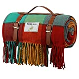 Good Gain Waterproof Picnic Blanket, 60X80inch Extra Large Foldable Beach Rug with Luxury PU Leather Carrier, Portable Sandproof Picnic Mat for Hiking Camping.Color Bar