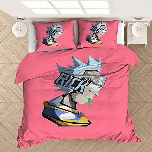 Rick and Morty juego de cama con funda nórdica de dibujos animados de ciencia ficción en 3D para niños, ropa de cama suave, cómoda duradera para niños y niñas textiles para hogar-D_210x210cm (3pcs)