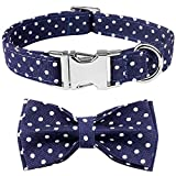 Mtliepte Plaid Dog Cat Collar Bowtie Heavy Metal Buckles Soft Comfy Adjustable Collar 4 Sizes