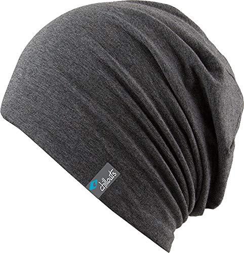 FEINZWIRN Acapulco - leichte längere Beanie Unisex Slouch (Dark Grey)