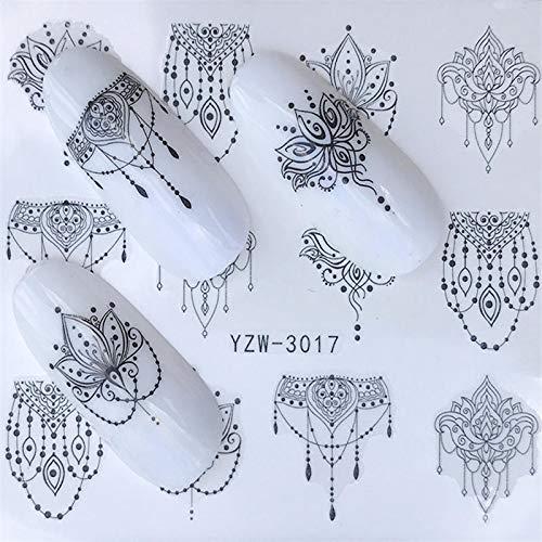 1 folha simples de estênceis preto artístico arte para unhas adesivo de transferência de água esmalte gel decoração completa para ferramenta de unhas YZW-3017