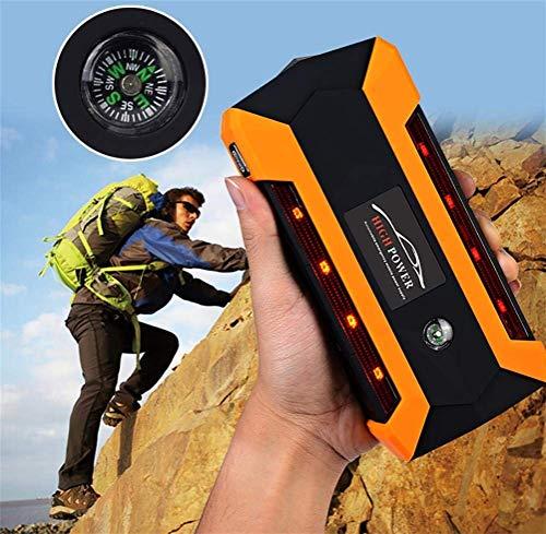 AZITEKE Arrancador de Coche portátil 600A 20000mAh 4 Puertos USB 12 V Auto batería Booster Emergencia Power Pack Multi función batería de Litio Banco de energía portátil Linterna LED (Naranja)