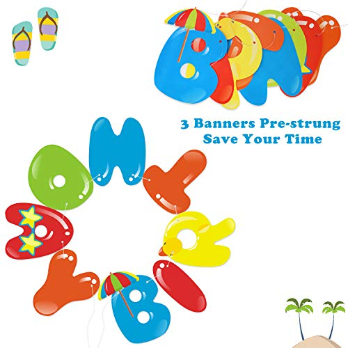 Beach Ball Happy Birthday Banner - Pool Party Garland Decoration - Summer Party Supplies