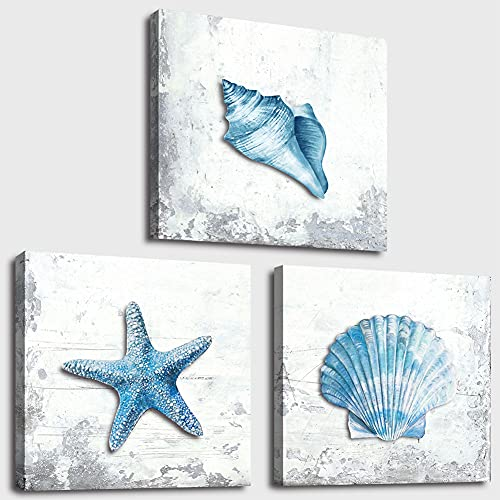 Beach Seashell Wall Art Starfish Navy Blue Picture Canvas Artwork Framed Turquoise Modern Art Painting Prints for Bathroom Bedroom Living Room Kitchen Office Wall Décor 3 Panels