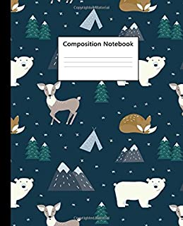 Composition Notebook: Cute Winter Landscape Blank Wide Ruled Notebook for Students, Kids and Teens | Pretty Deer & Polar Bear Wide Lined Journal for School and College for Writing & Notes.