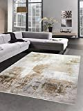 Alfombra de lana moderna sala de estar alfombra resumen beige crema marrón Größe 80 x 300 cm