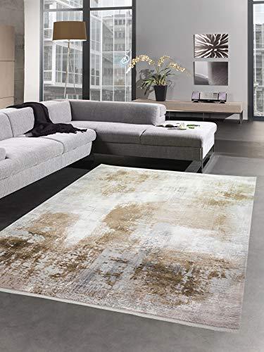 Teppich Wollteppich modern Designerteppich beige braun creme Größe 200 x 290 cm
