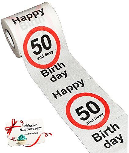 alles-meine.de GmbH 1 Rolle _ Toilettenpapier -  50. Geburtstag / fünfzig und Sexy - Happy Birthday  - 28 m - Verkehrsschild - WC Klopapier Klopapier - lustig Klorolle große Ro..