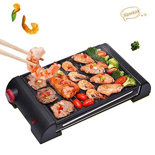 Grill Rauchlos Innenelektrogrill Tabelle Barbecue Grill Schnellaufheizung mit einstellbarer Temperaturregelung mit 1 ersetzbarer Grillwanne Anti-drip Fett nichtklebende Oberfläche Kochens 30X21.5 cm L