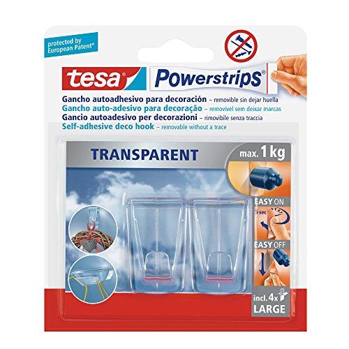 tesa 58813-00002-00 58813-00002-00-Powerstrips PS Transparent Deco Hook L, Set de 2 Piezas