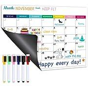 """Magnetic Calendar for Refrigerator - Fridge Calendar, Magnetic Dry Erase Calendar with Six Markers, Monthly Calendar Whiteboard, 16.9"""" x 11.8"""", Desk & Wall & Fridge Calendar/Planner - Colorful"""