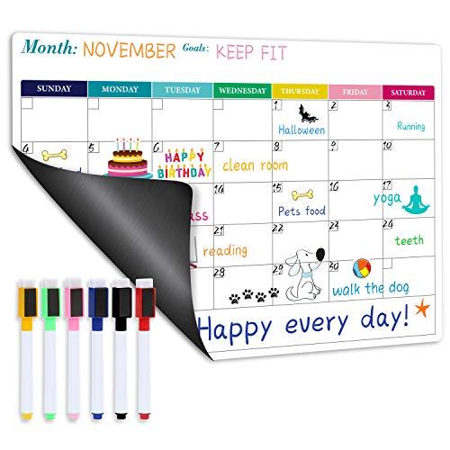 Magnetic Calendar for Refrigerator - Fridge Calendar, Magnetic Dry Erase Calendar with Six Markers, Monthly Calendar Whiteboard, 16.9' x 11.8', Desk & Wall & Fridge Calendar/Planner - Colorful