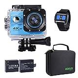 Action Cam 4K WiFi 1080P 60FPS, 20 MP Unterwasserkamera, 2.4G Fernbedienung und 2 Akkus für...