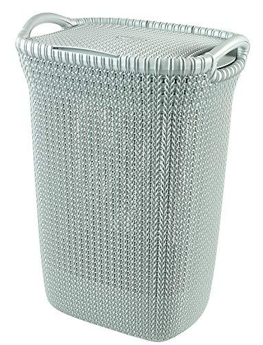 Curver 228411 - Cesta de ropa Knit, 57 L, 43.2 x 32.1 x 59.4 cm, color azul bruma