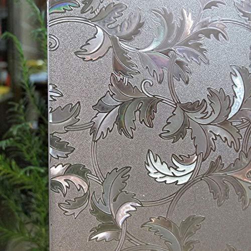 Pegatinas electrostáticas de Hoja de Vid de Cristal 3D película para Ventanas sin Pegamento Esmerilado película de decoración de Vidrio para Ventanas y Puertas de privacidad para el hogar E 30x200cm