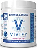 Vivify All-Day Energy Vitamin and Amino Powder, Top-Rated Preworkout Energizer for Women and Men, 5g BCAA's, L-Glutamine. Zero Sugar. Blue Raspberry. 30 Servings.