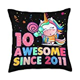 2021 Birthday Princess Unicorns Gifts For Girl Co. 10 Years Old 10th Birthday Unicorn Girl Awesome Since 2011 Throw Pillow, 18x18, Multicolor