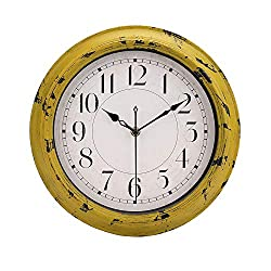Yellow Vintage Decorative Wall Clock Silent Non-Ticking Battery Operated Quartz Retro Round Wall Clock - 12 Inch Antique Yellow Rustic Wall Clock for Living Room Kitchen Home Office