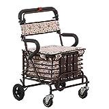 FGDSA Andador para Silla de RuedasAndadorGrande de 4 Ruedas Andador Plegable y empujable para Sentarse con Ruedas Scooter Andador para Compras para Ancianos
