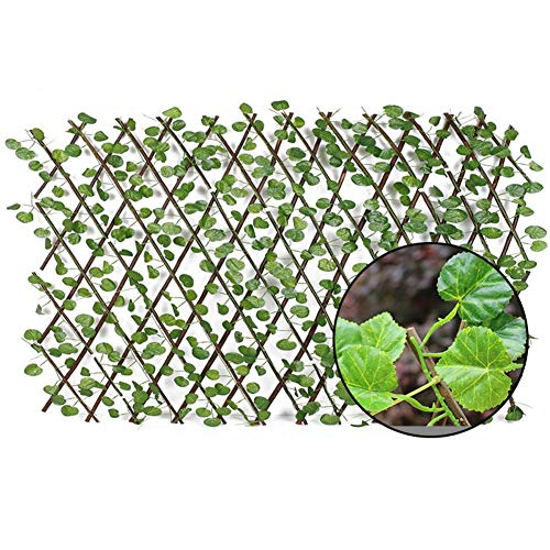 Sunnyushine Scissor Grid Wood Extendable Plant Grid Trellis Artificial Garden Plants Fence UV Protected Privacy Screen Grape leaves