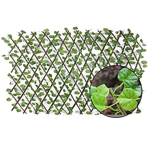 Sunnyushine Scherengitter Holz Ausziehbar, Pflanzengitter Rankgitter Spalier, Künstlicher Gartenpflanzen Zaun UV Geschützt Datenschutz Bildschirm