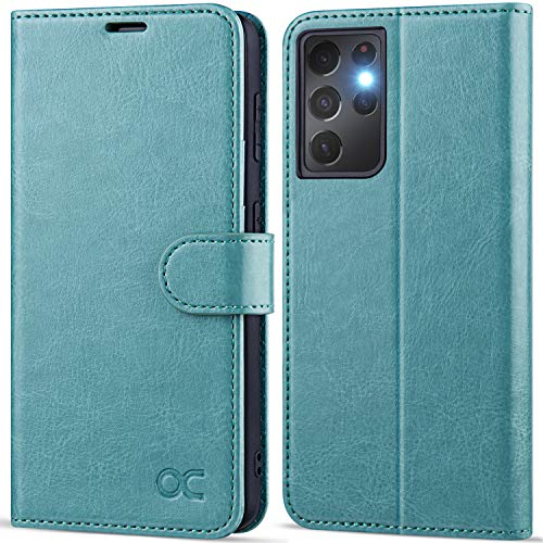 OCASE Compatible with Galaxy S21 Ultra 5G Wallet Case, PU Leather Flip Folio Case with Card Holders RFID Blocking Kickstand [Shockproof TPU Inner Shell] Phone Cover 6.8 Inch (2021) - Mint Green