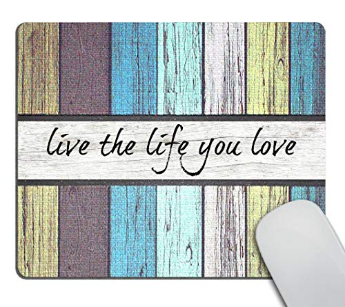 Smooffly Gaming Mouse Wood Design Mousepad Non Slip Rubber Mouse Mat Rectangle Quote Inspirational Mouse Pads for Computers Laptop - Love The Life You Live