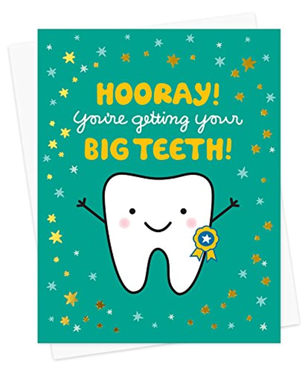 Night Owl Paper Goods Big Teeth Gold Foil Embellished Congratulations Card