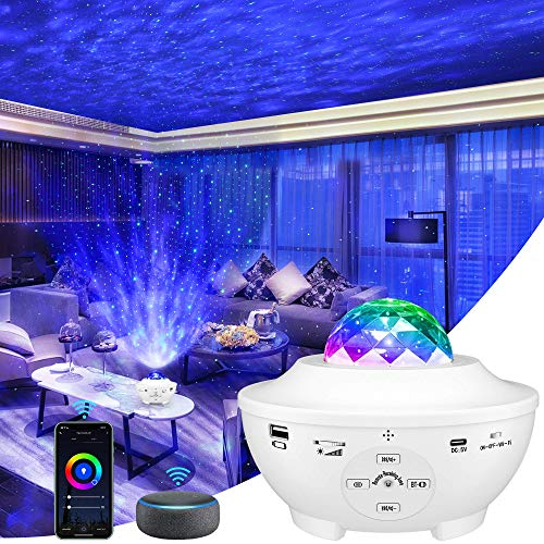 LBell Galaxy Projector 4 in 1 Smart Star Projector Sky Lite with Alexa,Google Assistant for Baby Kids Bedroom/Game Rooms/Home Theatre/Night Light Ambiance with Bluetooth Music Speaker(White)
