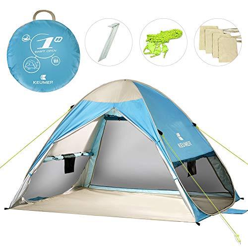 Powcan Grote Pop Up Beach Tent Automatische Anti UV Sun Shelters Onmiddellijk Gemakkelijk Outdoor Cabana Draagbare Zonnescherm voor 2-3 Personen Familie Kids Baby Camping, Vissen, Picknick, UPF 50+, 200x150x130cm