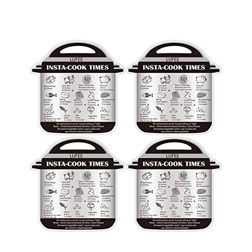 Instant Pot magnetisch Spickzettelkugelschreiber blanko, 4PCS Kochen Zeit Tabellen für 14gemeinsamen Prep Lebensmittel, Bilder Kochen Tabelle für sofortige Topf 4