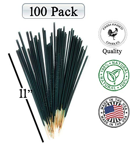 Farm Raised Candles 100 Pack Mintronella Naturals Mosquito Incense Patio Sticks. USA Hand-Crafted with Citronella Lemongrass and Peppermint Essential Oils Balcony Yard Party