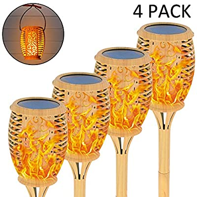 Shoo-in Solar Torch Light Outdoor, Solar Lights Upgraded,Lighting Dusk to Dawn Auto On/Off,Water Transfer Printing,4 Pack