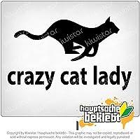 クレイジーキャットレディ Crazy cat lady 18cm x 11cm 15色 - ネオン+クロム! ステッカービニールオートバイ
