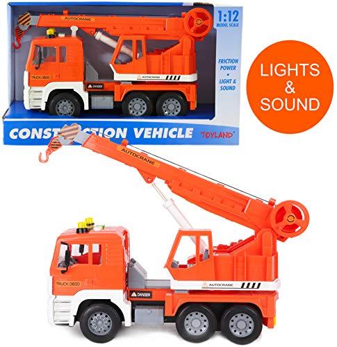 Toyland® - Vrachtwagen van 30cm met Licht en Geluid - Bouwvoertuigen voor Jongens (Oranje Kraanwagen)