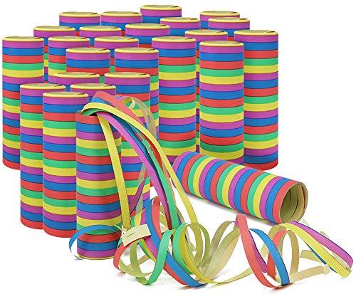com-four 25x Piccoli Streamer rotolano in Diversi Modelli Come Decorazioni per Feste di Compleanno - Serpenti di Carta per la Notte di San Silvestro (25 Pezzi - Colorati)