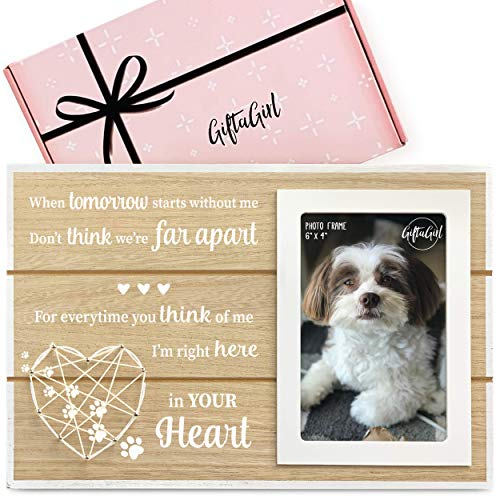 GIFTAGIRL Dog Memorial Gifts, Pet Memorial Gifts or as Pet Loss Gifts. Our Beautiful Cat or Dog Memorial Picture Frame Will Show Someone You Care. Lovely as Loss of Dog Gifts or Cat Memorial Gifts