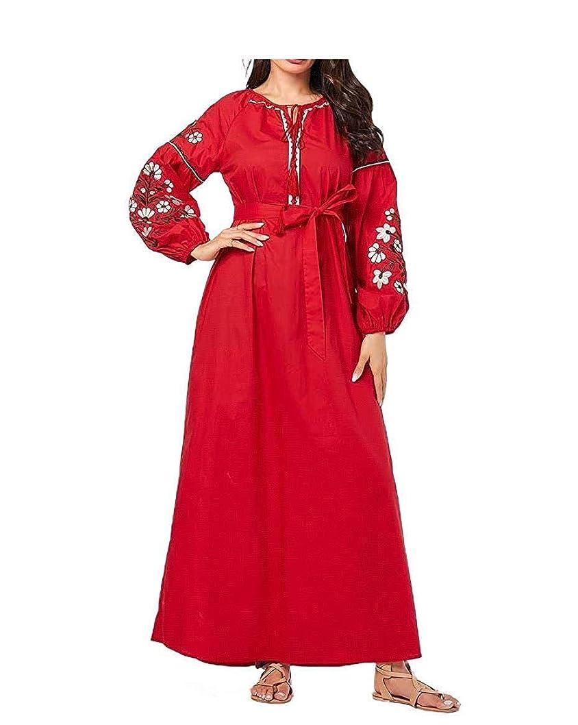 とは異なり食物気づかない女性のドレスプラスサイズ刺繍長袖クラシックビッグヘムイスラム教徒のドレス As1 Medium