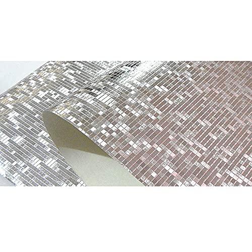 HFSKJ Papel Pintado estéreo 3D Plata Grid Mosaico Cuarto de baño Columna KTV Contador Wallpaper