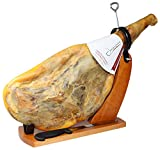 Serrano Ham Bone in from Spain 15 - 17 lb + Ham Stand + Knife - Cured Spanish Jamon Made with NO Nitrates or Nitrites