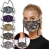 Lulupi 5 Stück Multifunktionstuch Mundschutz 3D Druck Bandana Maske Waschbar Umhängeband Baumwolle Stoffmaske Atmungsaktiv Mund-Nasenschutz Tiermotiv Halstuch Schals Herren Damen
