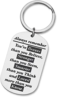 Eunigem Graduation Keychain 2020 Family Friend Gifts for Kids Teenagers Son Daughter Inspirational Birthday Always Remember You are Braver Than You Believe stainless steel