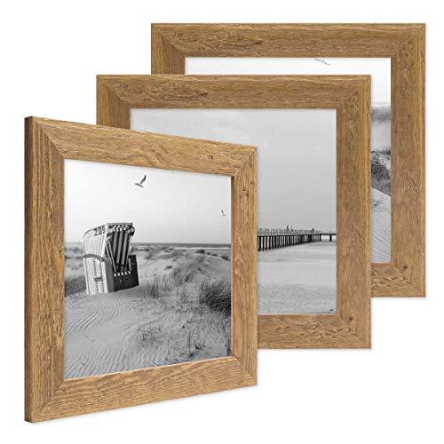 PHOTOLINI 3er Bilderrahmen-Set 10x10 cm Strandhaus Rustikal Eiche-Optik Natur Massivholz mit Glasscheibe inkl. Zubehör/Fotorahmen