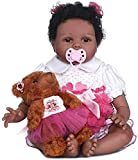LCJD 22 Pouces 55 cm Reborn Baby Dolls Real Looking Lifelike Full Silicone Body Baby Girl Doll Black Toddler Baby Boy Doll Toy Christmas Xmas Birthday Gift (2#, Blue Eyes)