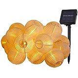 MUHOO Solar Lampions Lichterkette Außen Warmweiß 6.5 Meter 30 LED 2 Modi Außenbeleuchtung mit Koppelbarem Transparenten Kabel für Garten,...